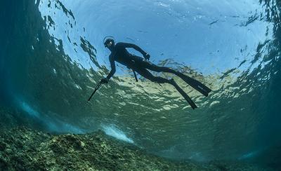 homme en tenue de plongée qui chasse sous l'eau