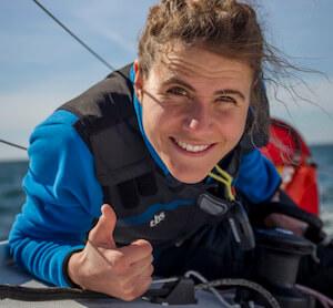Clarisse Crémer sur un bateau