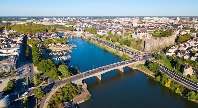 Vue aérienne de la ville d'Angers